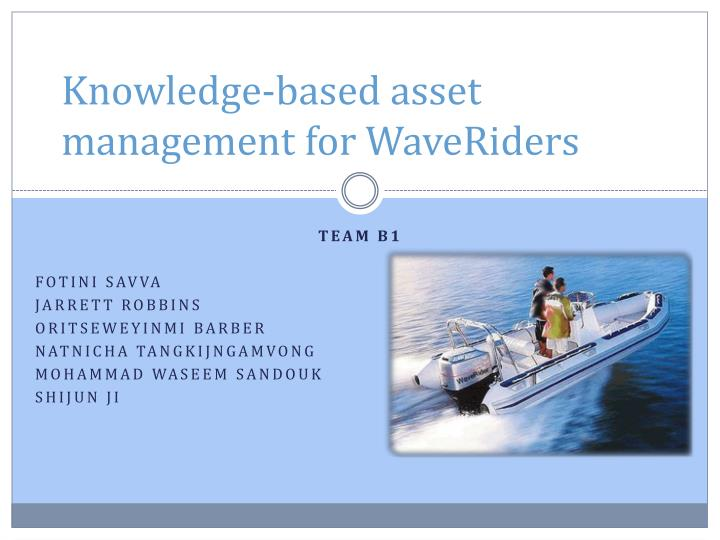 knowledge based asset management for waveriders n.