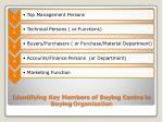 identifying key members of buying centre in buying organisation