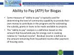 ability to pay atp for biogas