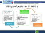 design of activities in twg v