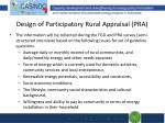 design of participatory rural appraisal pra