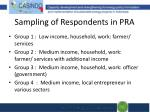 sampling of respondents in pra