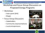 workshop and focus group discussion on proposed energy programs