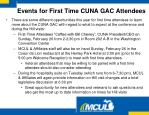 events for first time cuna gac attendees