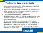 the need for supplemental capital