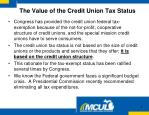the value of the credit union tax status
