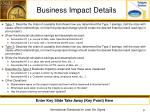 business impact details