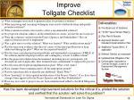 improve tollgate checklist
