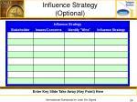 influence strategy optional