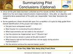 summarizing pilot conclusions optional