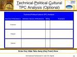 t echnical p olitical c ultural tpc analysis optional