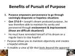 benefits of pursuit of purpose