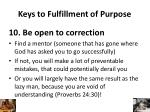 keys to fulfillment of purpose9