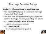 marriage seminar recap