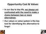 opportunity cost values