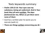 texts keywords summary