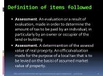 definition of items followed1