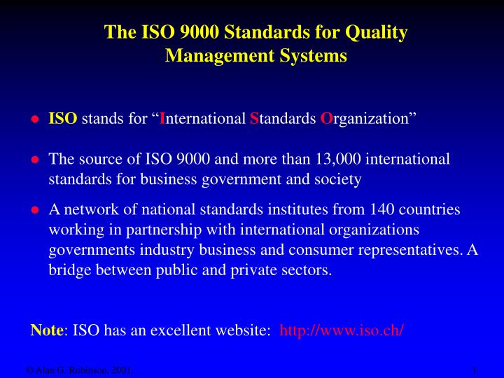 the iso 9000 standards for quality management systems n.