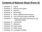 contents of balance sheet form a