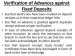verification of advances against fixed deposits