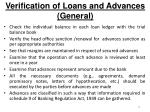 verification of loans and advances general