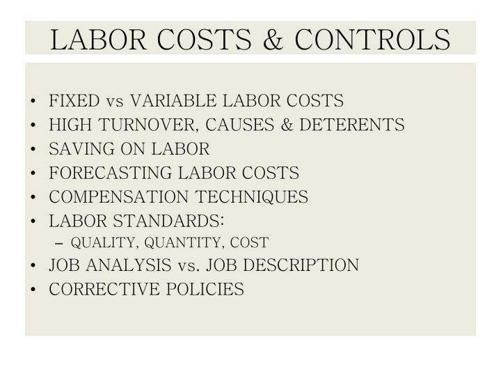 labor costs controls n.