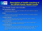 description of health coaching at the sfgh family health center1