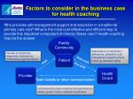 factors to consider in the business case for health coaching