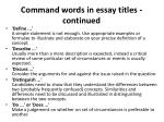 command words in essay titles continued