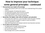 how to improve your technique some general principles continued