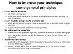 how to improve your technique some general principles