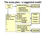 the essay plan a suggested model