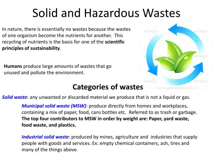 solid and hazardous wastes n.