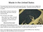 waste in the united states