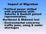 impact of migration