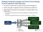 redesign integrates leakage and process flow findings to drive improved total outcomes