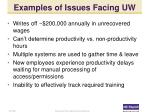 examples of issues facing uw