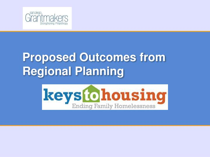 proposed outcomes from regional planning n.