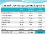 general operating account expenses