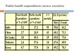 public health expenditures across countries