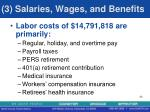 3 salaries wages and benefits