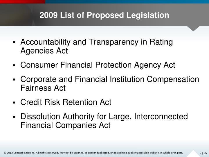 2009 List of Proposed Legislation
