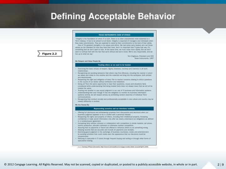 Defining Acceptable Behavior