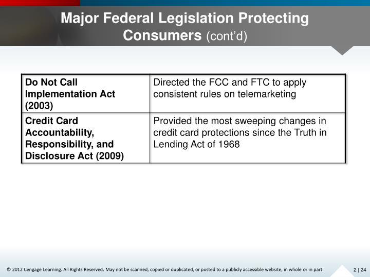 Major Federal Legislation Protecting Consumers
