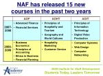naf has released 15 new courses in the past two years
