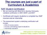 the courses are just a part of curriculum academics