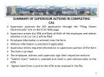 summary of supervisor actions in completing ca1
