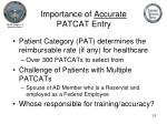 importance of accurate patcat entry