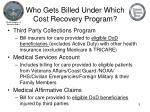 who gets billed under which cost recovery program