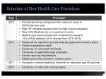 schedule of new health care provisions